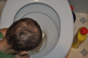 Image of a baby head over toilet bowl
